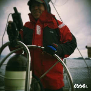 Cold and Windy Day at the Helm